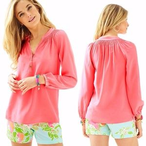Lilly Pulitzer Coral Elsa Silk Top Size Small